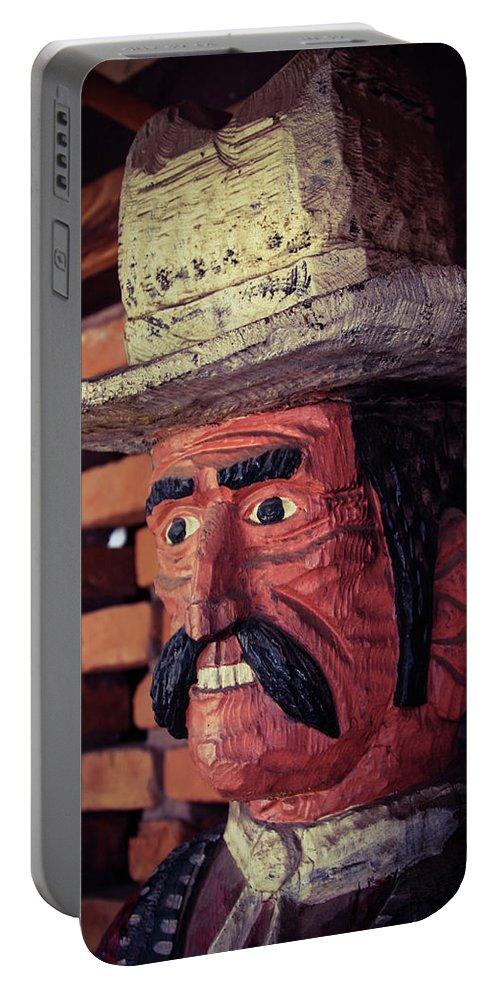 Cowboy Portable Battery Charger featuring the photograph Wooden Cowboy by Bonny Puckett