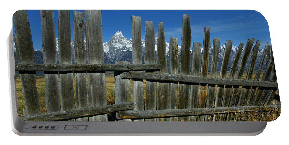 Fence Portable Battery Charger featuring the photograph Wooden Fence, Grand Tetons by Jean-Louis Klein & Marie-Luce Hubert