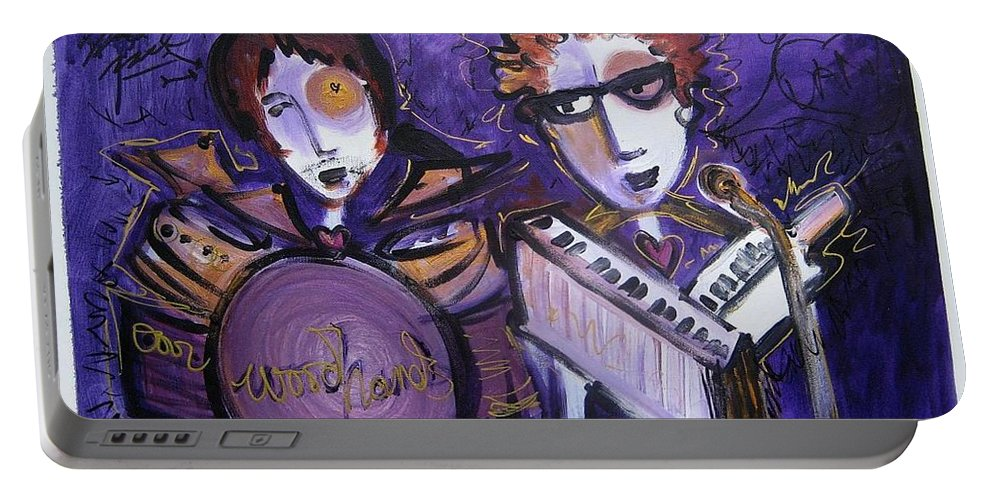 Laurie Maves Art Portable Battery Charger featuring the painting Woodhands At Monolith by Laurie Maves ART