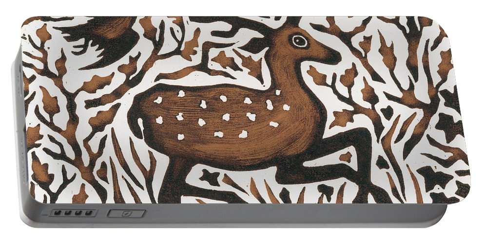 Deer Portable Battery Charger featuring the painting Woodland Deer by Nat Morley