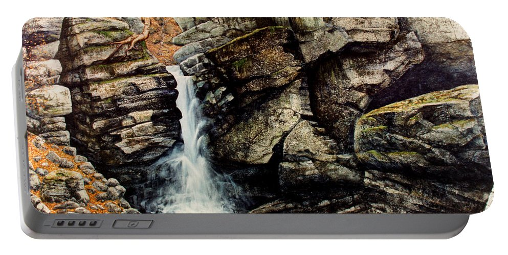Waterfall Portable Battery Charger featuring the painting Woodland Falls by Frank Wilson