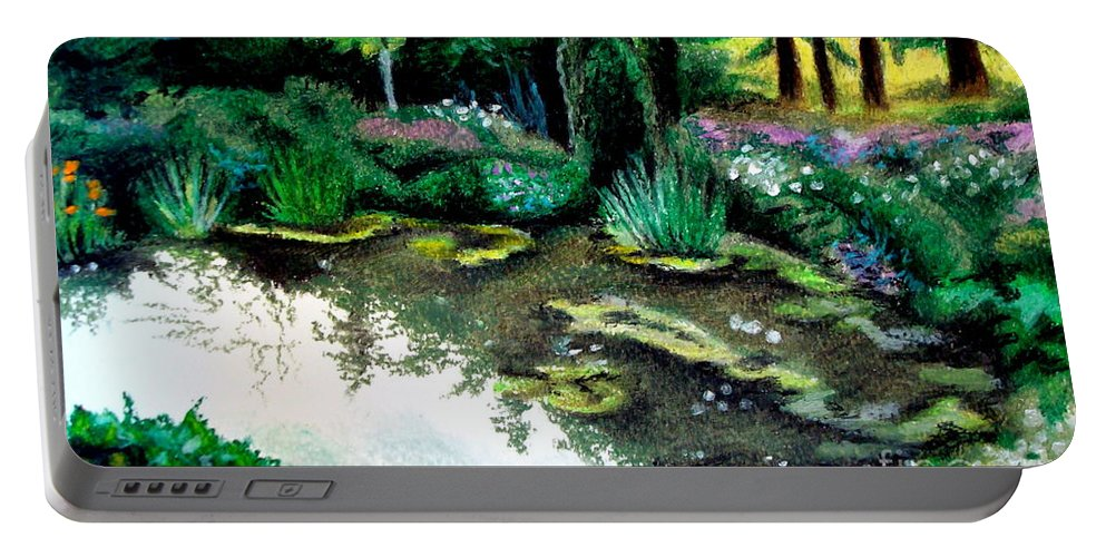 Landscape Portable Battery Charger featuring the pastel Woodland Mystery by Elizabeth Robinette Tyndall