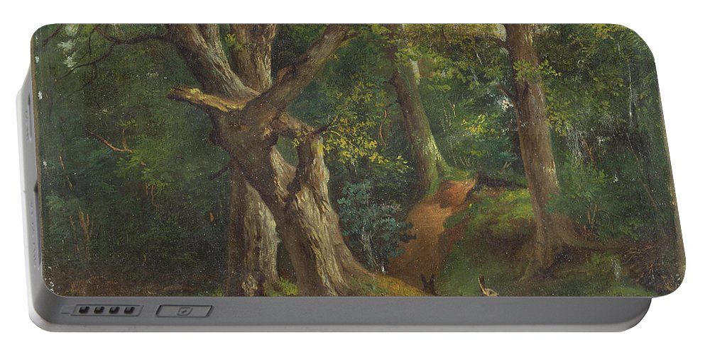 Woodland Scene With Rabbits By Hubert Von Herkomer Portable Battery Charger featuring the painting Woodland Scene With Rabbits by Hubert von