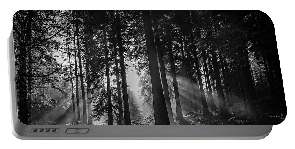 Landscapes Portable Battery Charger featuring the photograph Woodland Walks Silver Rays B/w by Frank Etchells
