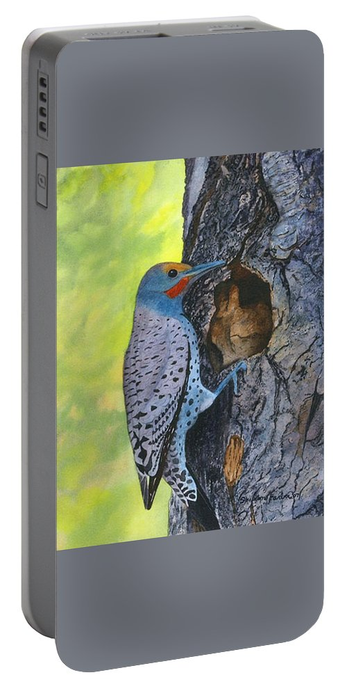 Woodpecker Portable Battery Charger featuring the painting Woodpecker by Sharon Farber
