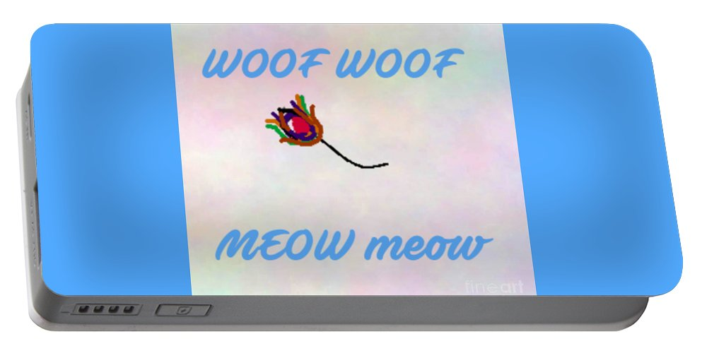 Woof Portable Battery Charger featuring the digital art Woof Woof Meow Meow by Jacqueline Smith