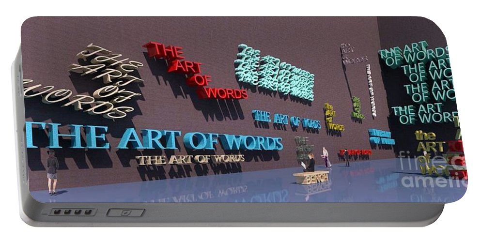 Rendering Portable Battery Charger featuring the digital art Word As Art by Ron Bissett