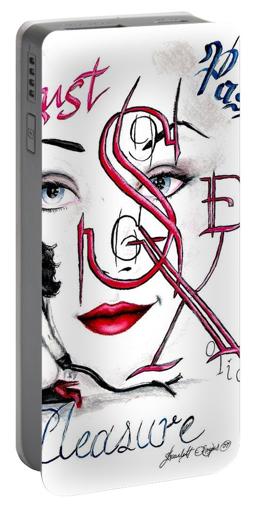 Erotic Portable Battery Charger featuring the drawing Words of the Dirty Mind by Scarlett Royal