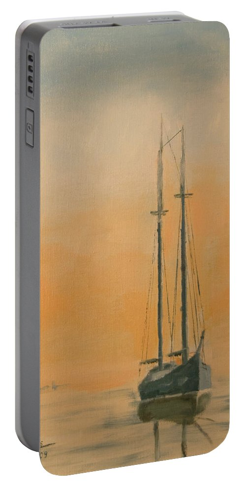Boat Portable Battery Charger featuring the painting Work Boat At Rest by Christopher Jenkins