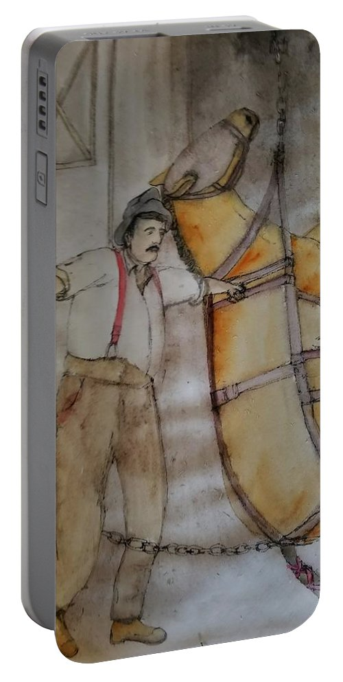 Horses. Mining . Work. Portable Battery Charger featuring the painting Work Not Dance Album by Debbi Saccomanno Chan