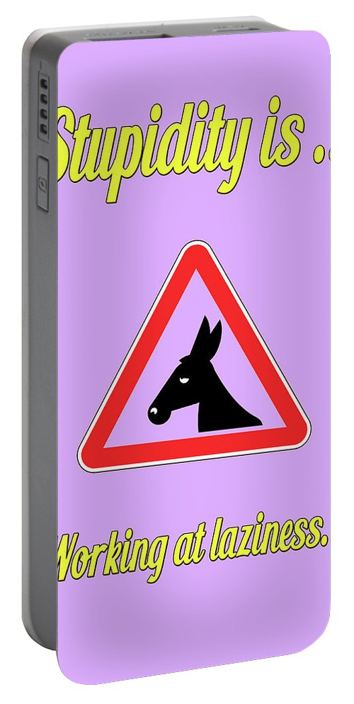 Funny Portable Battery Charger featuring the digital art Working Bigstock Donkey 171252860 by Mitchell Watrous