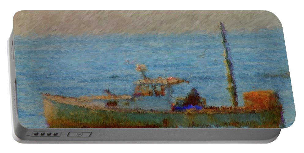 Working Hard Portable Battery Charger featuring the painting Working Hard Lobster Boat Smugglers Cove Boothbay Harbor Maine by Viktor Arsenov