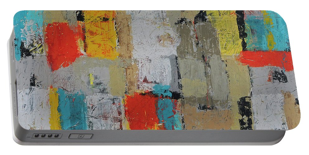 Abstract Portable Battery Charger featuring the painting Working Together by Jim Benest