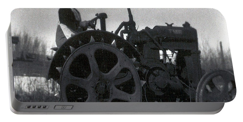 Old Photo Black And White Classic Saskatchewan Pioneers History Tractor Farming Woman Lady Portable Battery Charger featuring the photograph Working Woman by Andrea Lawrence