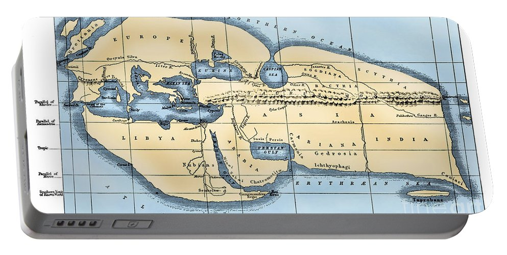 2nd Century B.c Portable Battery Charger featuring the photograph World Map: Eratosthenes by Granger