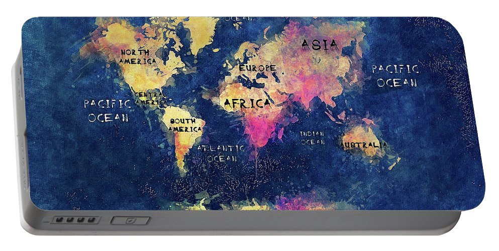 Map Of The World Portable Battery Charger featuring the digital art World Map Oceans And Continents by Justyna JBJart