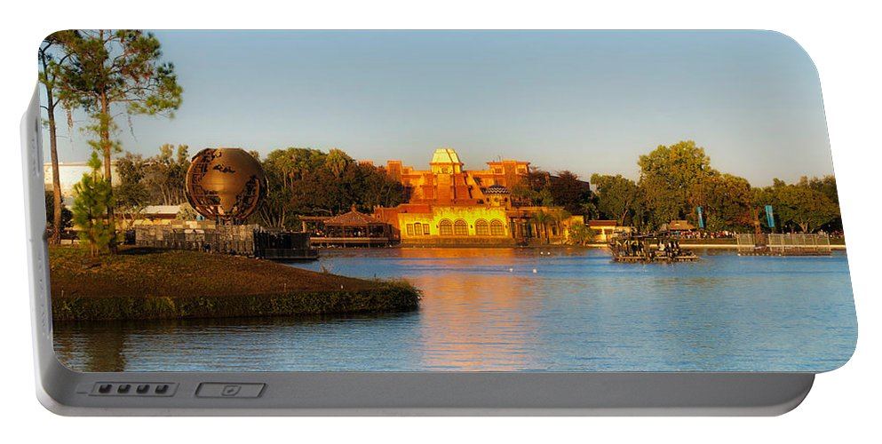 Epcot Portable Battery Charger featuring the photograph World Showcase Lagoon Before The Show Walt Disney World by Thomas Woolworth