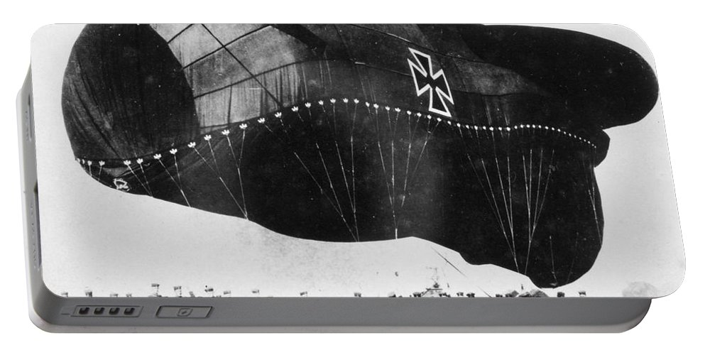 1914 Portable Battery Charger featuring the photograph World War I: Airship by Granger