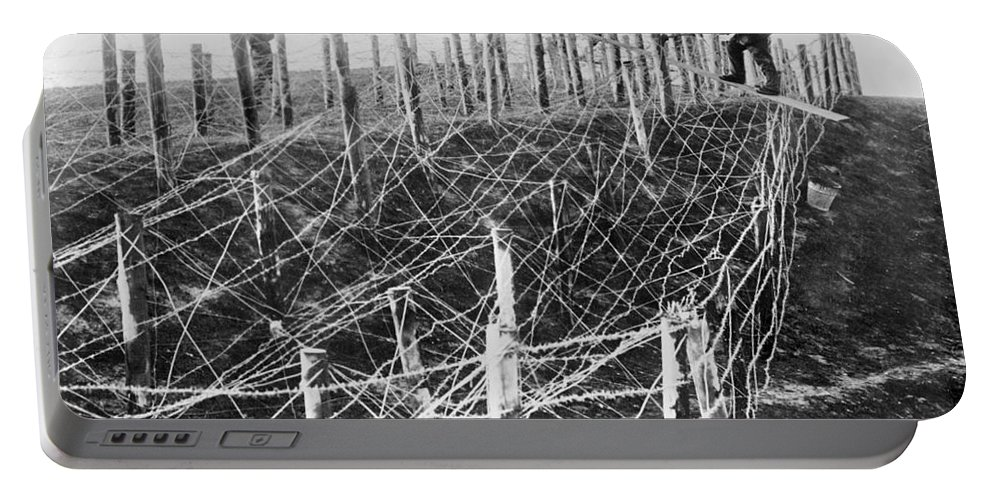 1914 Portable Battery Charger featuring the photograph World War I Barbed Wire by Granger
