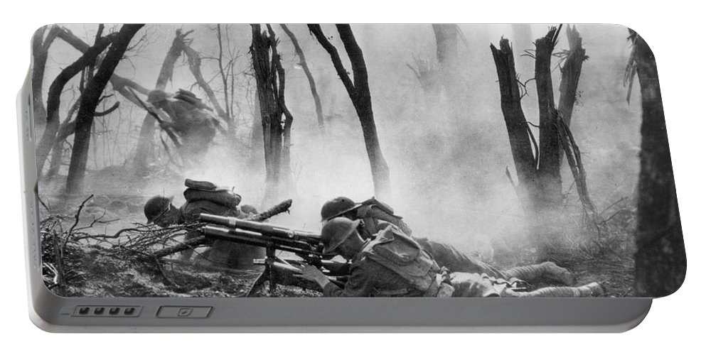 1918 Portable Battery Charger featuring the photograph World War I: Battlefield by Granger