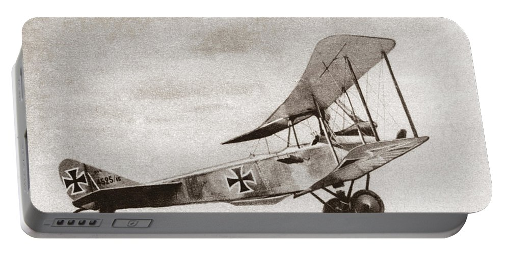 1914 Portable Battery Charger featuring the photograph World War I: German Biplane by Granger