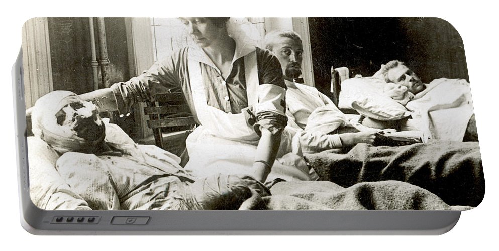 1914 Portable Battery Charger featuring the photograph World War I: Nurse by Granger