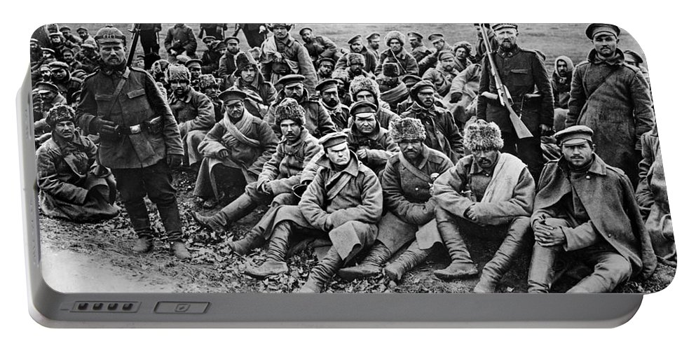 1914 Portable Battery Charger featuring the photograph World War I: Prisoners by Granger
