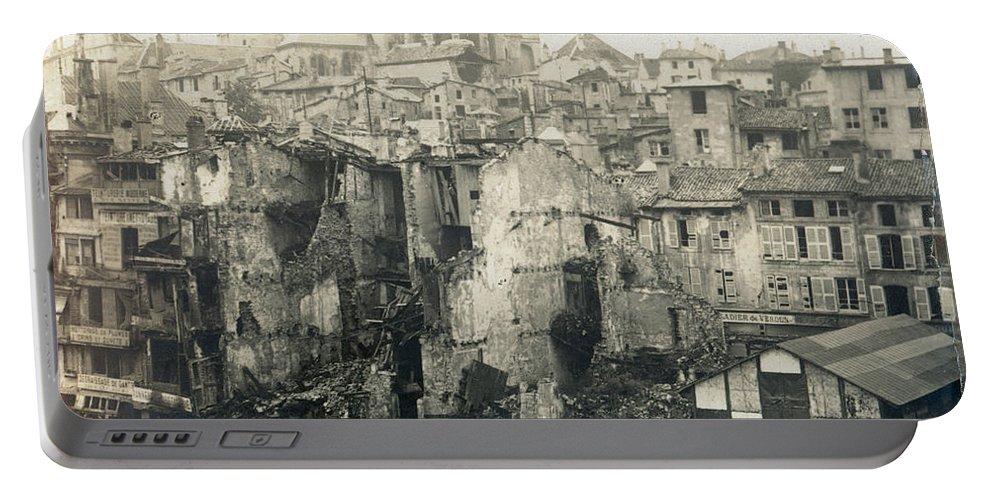 1919 Portable Battery Charger featuring the photograph World War I: Verdun Ruins by Granger