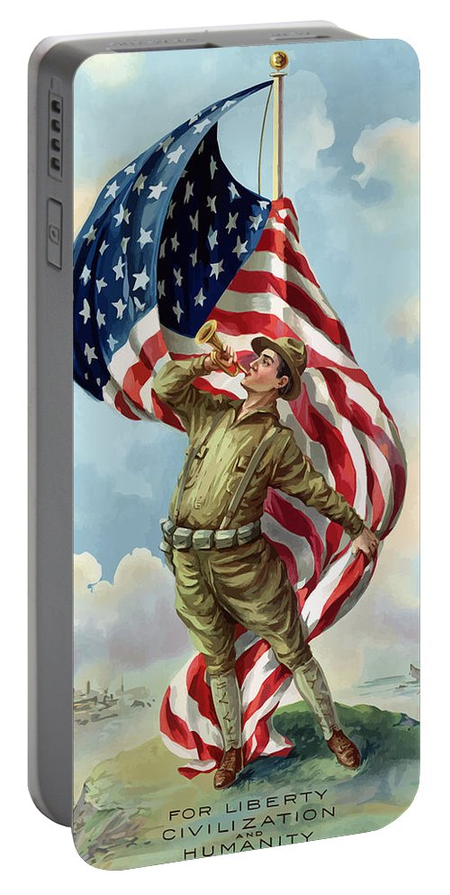 Ww1 Portable Battery Charger featuring the painting World War One Soldier by War Is Hell Store