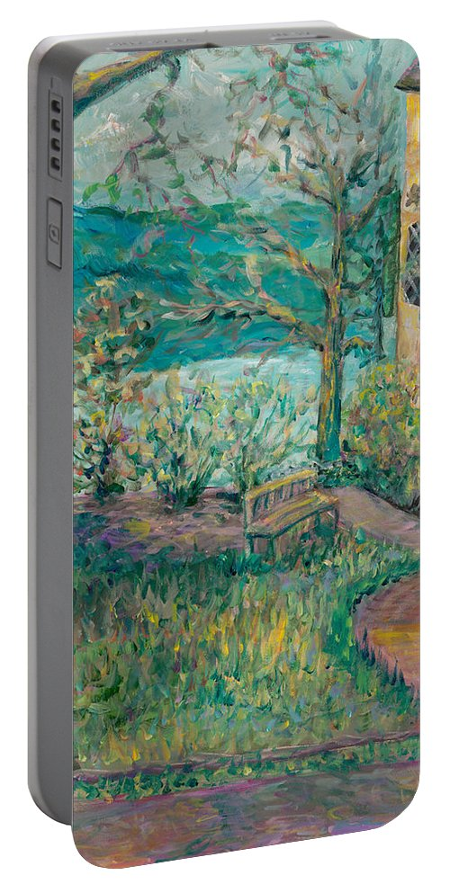 Big Cedar Lodge Portable Battery Charger featuring the painting Worman House At Big Cedar Lodge by Nadine Rippelmeyer
