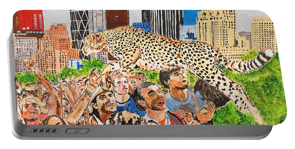 Cat Portable Battery Charger featuring the painting Worship And Kill by Valerie Ornstein