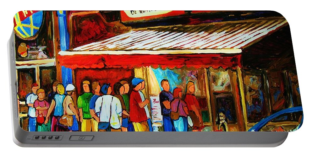 Montreal Streetscenes Portable Battery Charger featuring the painting Worth The Wait by Carole Spandau