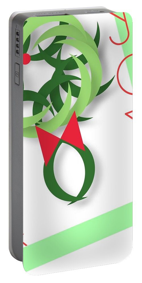 Christmas Portable Battery Charger featuring the digital art Wreath by Mary Jo Hopton