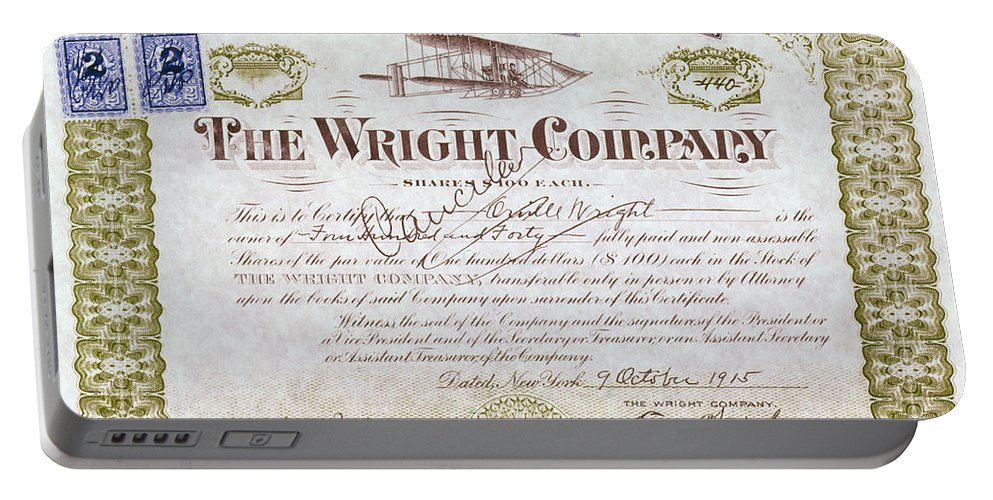 1915 Portable Battery Charger featuring the photograph Wright Brothers, 1915 by Granger