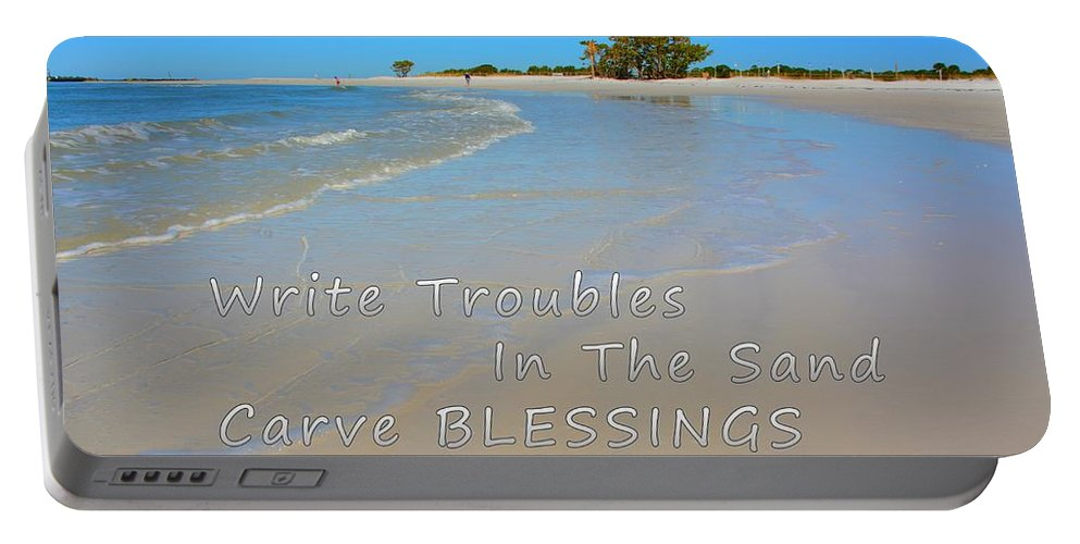 Write Troubles In The Sand Carve Blessings In Stone Portable Battery Charger featuring the photograph Write Troubles In The Sand Carve Blessings In Stone by Lisa Wooten