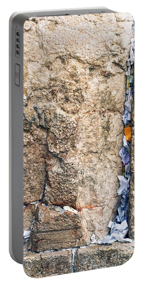 Israel Portable Battery Charger featuring the photograph Written Prayers Tucked Into Cracks Western Wall Jerusalem by Thomas R Fletcher