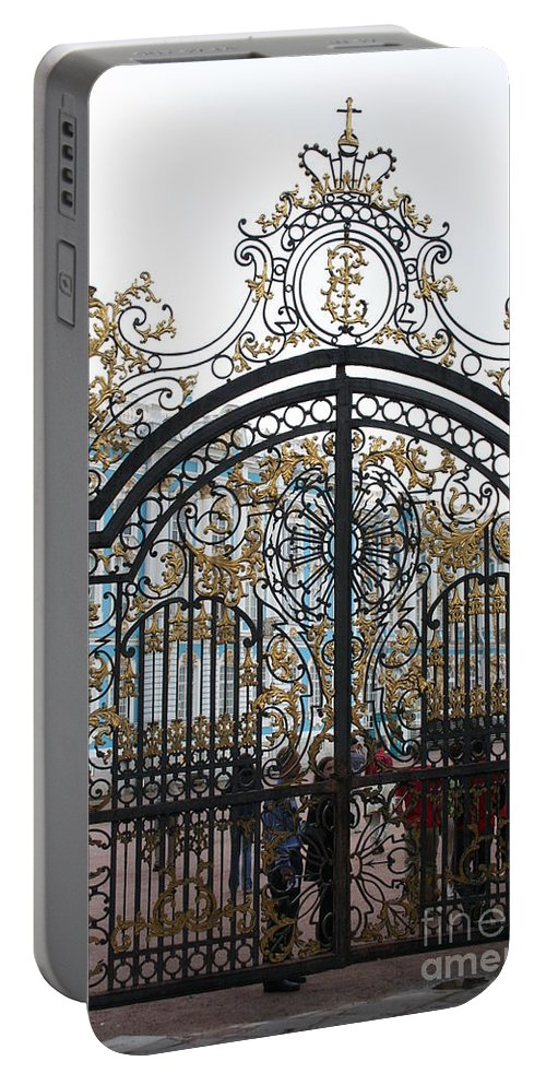 Gate Portable Battery Charger featuring the photograph Wrought Iron Gate by Christiane Schulze Art And Photography
