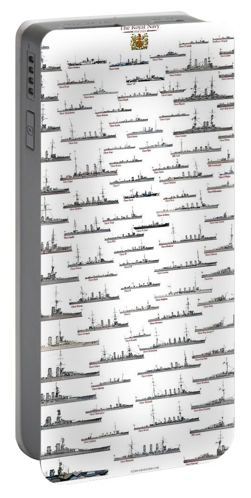Ww1 Portable Battery Charger featuring the drawing ww1 Royal Navy by The Collectioner