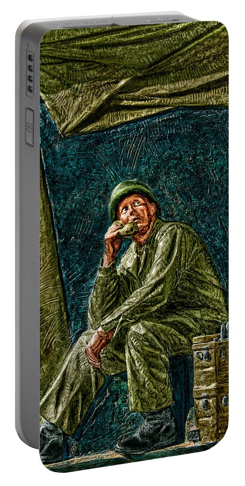 National Wwii Memorial Portable Battery Charger featuring the photograph Wwii Radioman by Christopher Holmes