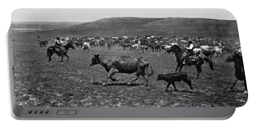 1890 Portable Battery Charger featuring the photograph Wyoming: Cowboys, C1890 by Granger