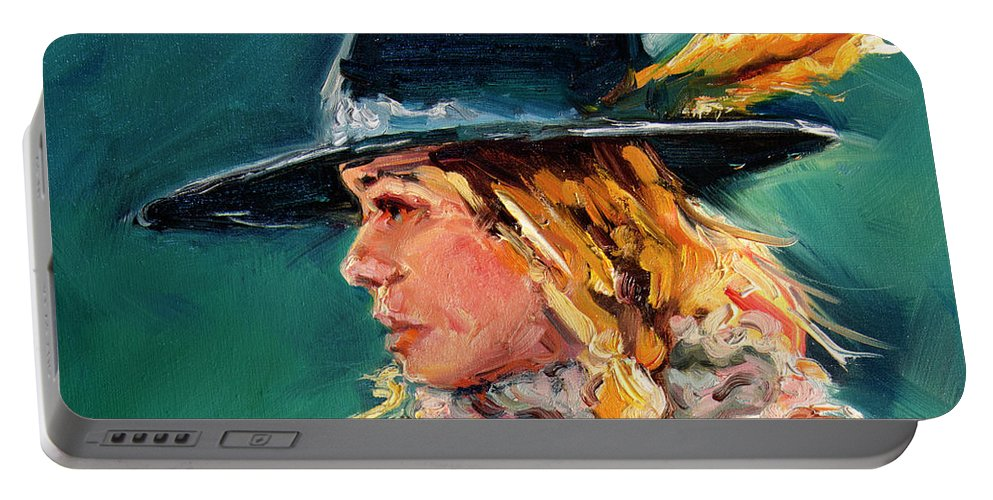 Cowgirl Portable Battery Charger featuring the painting Wyoming Cowgirl Close by Diane Whitehead