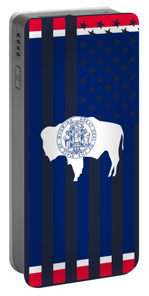 Wyoming Portable Battery Charger featuring the digital art Wyoming State Flag Graphic Usa Styling by Garaga Designs