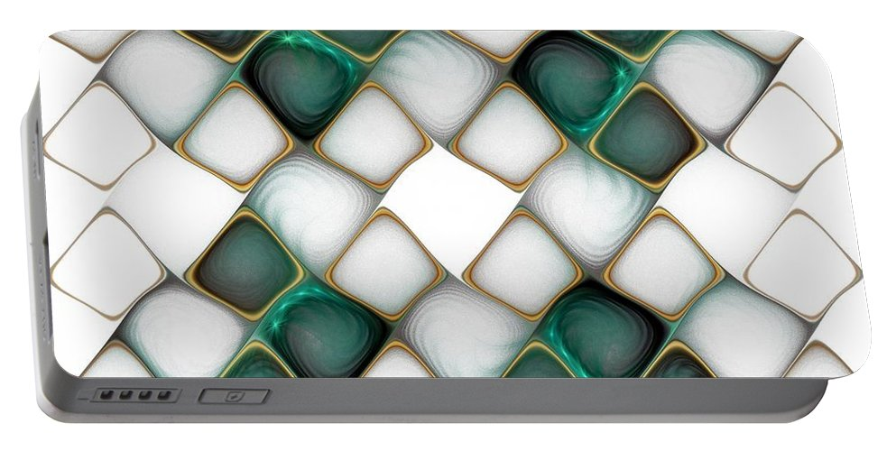 Digital Art Portable Battery Charger featuring the digital art X Marks The Spot by Amanda Moore