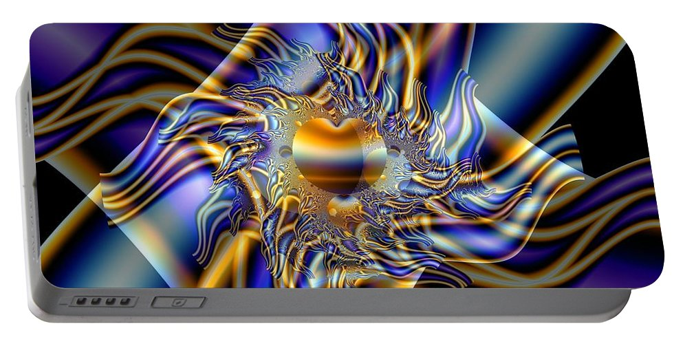 Fractal Art Portable Battery Charger featuring the digital art X by Ron Bissett