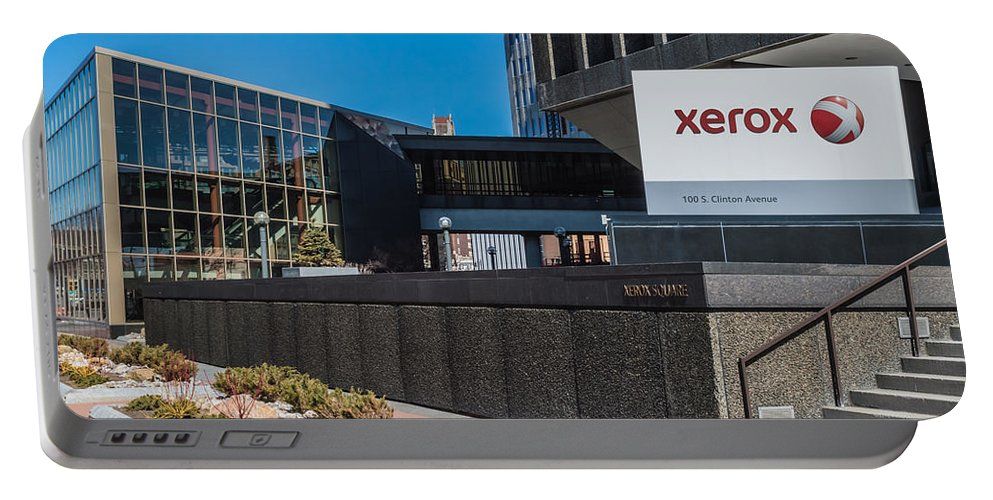 Architecture Portable Battery Charger featuring the photograph Xerox Tower Entrance by Ray Sheley