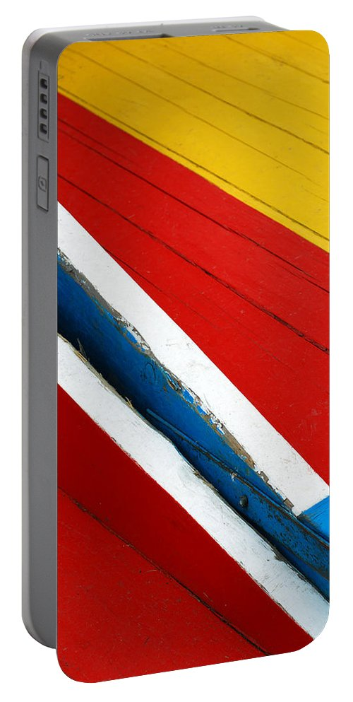 Red Portable Battery Charger featuring the photograph Xochimilco Boat Abstract 1 by Skip Hunt