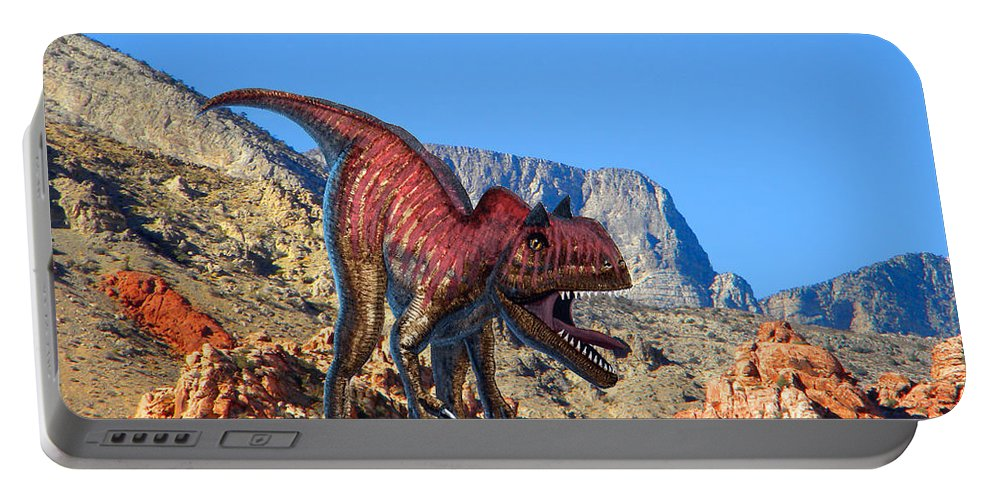 Dinosaur Art Portable Battery Charger featuring the mixed media Xuanhanosarus In The Desert by Frank Wilson