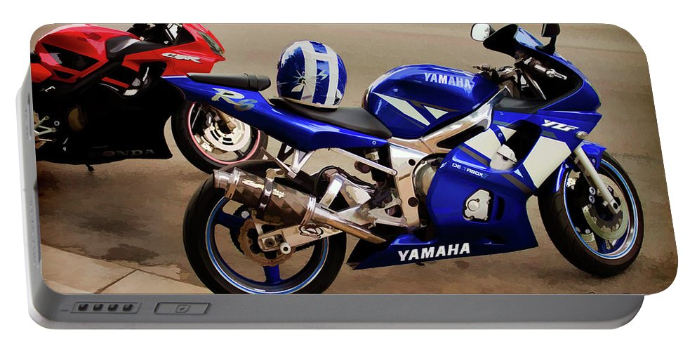 Sport Bike Portable Battery Charger featuring the photograph Yamaha Yzf-r6 Motorcycle by Joann Copeland-Paul