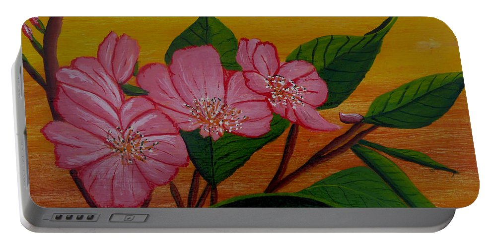 Yamazakura Portable Battery Charger featuring the painting Yamazakura Or Cherry Blossom by Anthony Dunphy