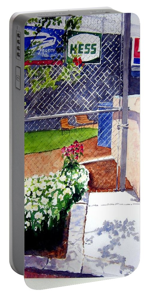 Ballpark Portable Battery Charger featuring the painting Yankee Stadium by Sandy Ryan